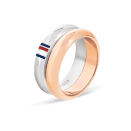 Tommy Hilfiger Dubbele Dames Ring met Roségoudkleurige Band / 17,25mm
