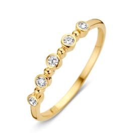 Excellent Jewelry Geelgouden Ring met Vijf Zirkonia's
