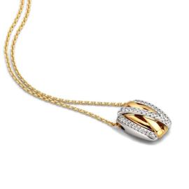 Excellent Jewelry Collier van Geelgoud met Bicolor Hanger met Briljanten
