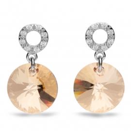 Xilion Disc Goudkleurige Swarovski Oorbellen van Spark Jewelry