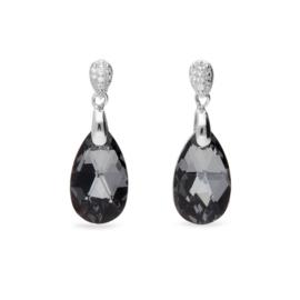 Zwarte Druppel Glaskristallen Oorbellen van Spark Jewelry