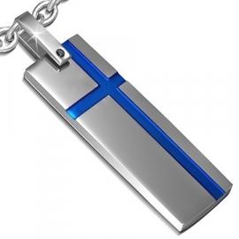 Graveer Hanger met een blauw kruis SKU78661