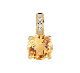 Geelgouden Hanger met Diamanten en Citrien