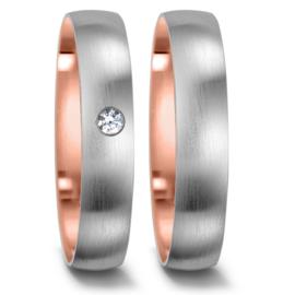 Matte Zilveren Trouwringen Set met Roségouden Binnenste en een Diamant
