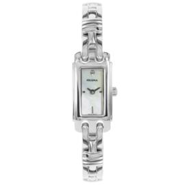 Prisma Zilverkleurig Rechthoekig Dames Horloge met Parelmoer