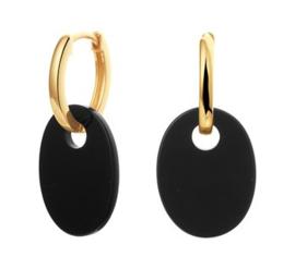 Goudkleurige Oorringen met Zwarte Onyx Ovaal