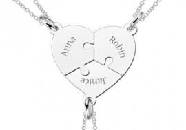 Names4ever Hartvormige Zilveren Puzzelstukjes Vriendschapsketting met Namen