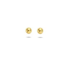 Gouden Oorknoppen Rond Gediamanteerd 4mm