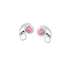 Oorknoppen van Zilver met Roze Strass | Sale