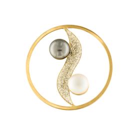 Goudkleurige Yin Yang Cover Munt met Gediamanteerde Strook en Parels van MY iMenso