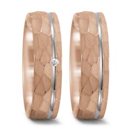 Roségouden Matte Trouwringen Set met Zilveren Lijn en Diamant