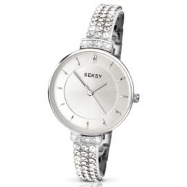 Licht Seksy Sekonda Zilverkleurig Dames Horloge met Sierdiamanten