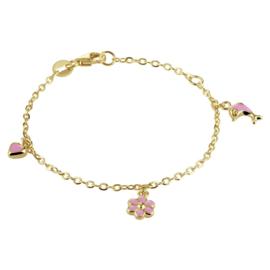 Gouden Armband met Bedels - Dolfijn, Bloem, Hartje