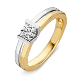 Excellent Jewelry Bicolor 4,5mm Ring met Briljant in V-vorm