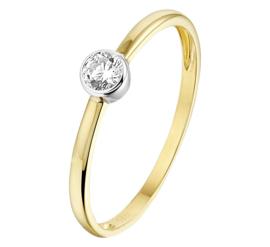 Geelgouden Dames Ring met Witgouden Zirkonia Kopstuk