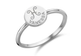 Zilveren Ring Disc met Sterrenbeeld en Naamgravure | Names4ever