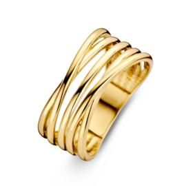 Excellent Jewelry Brede Geelgouden Ring met Slanke Stroken