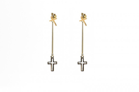 Gold Plated Silver Hanging Cross van Karma