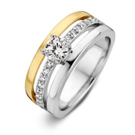 Excellent Jewelry Zilveren Ring met Gouden Strook en Zirkonia's