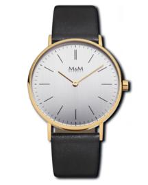 Goudkleurig M&M Horloge voor Dames met Lederen Horlogeband