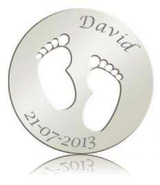 Baby voetjes munt incl. Graveren van naam + datum 33-0723