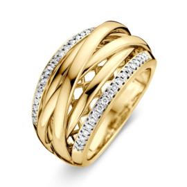 Excellent Jewelry Geelgouden Fantasie Ring met Diamant Rijen
