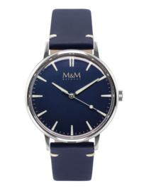 Zilverkleurig M&M Heren Horloge met Blauwe Horlogeband