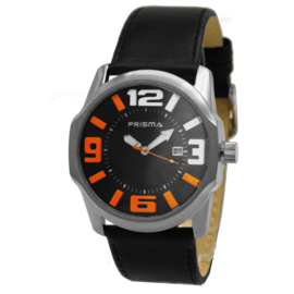 Prisma Basic Rond Dames Horloge met Zwarte Lederen Horlogeband