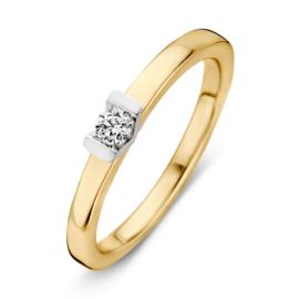 Excellent Jewelry Vlakke Geelgouden Ring met V-vorm en Zirkonia