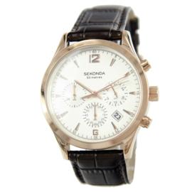 Chronograaf Roségoudkleurig Heren Horloge met Bruine Horlogeband