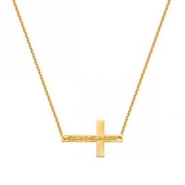 Super Stylish Gouden Kruis Hanger met Schakelketting
