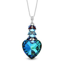 Spark Carino Zilveren Ketting met Blauwe Glaskristallen