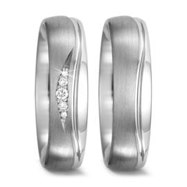 Moderne Gepolijste met Matte Zilveren Trouwringen Set met Diamanten