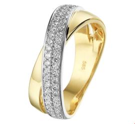 Brede Geelgouden met Witgouden Ring met Diamanten