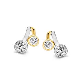 Excellent Jewelry Bicolor Oorstekers met Zirkonia's