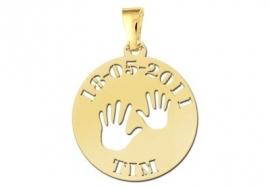 Names4ever Handjes Gouden Babyhanger met Datum en Naam