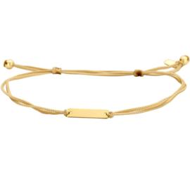 Goudkleurige Koord Armband met Gouden Plaatje
