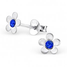 Bloemen Oorbellen + Strass steentje blauw
