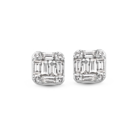 Excellent Jewelry Witgouden Oorsteker met Baquette Geslepen Diamanten