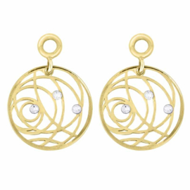 Goudkleurige Creoli Hangers met Swirl Zirkonia's van MY iMenso