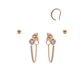 Karma Jewelry – Zesdelige Zirkonia Chain Earparty Set - Rosé