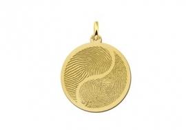 Names4ever Gouden Yin Yang Hanger met Vingerafdruk