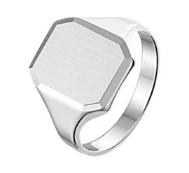 Graveer Ring voor Heren van Gepolijst met Gediamanteerd Zilver