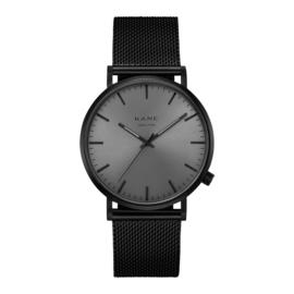 Zwart KANE Horloge met Zwarte Milanese Horlogeband