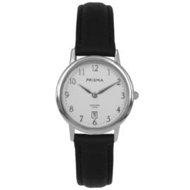 Prisma Zilverkleurig Signature Dames Horloge met Zwarte Band