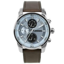 Prisma Heren Horloge van Edelstaal met Lichtblauwe Elementen