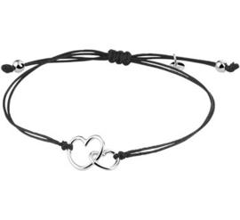 Zwarte Armband van Katoen met Zilveren Hartjes