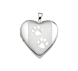 Afsluitbaar Hartvormig Foto Medaillon van Zilver met Hondenpootjes
