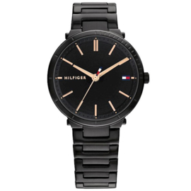 Tommy Hilfiger Zoey Dames Horloge – Zwart met Roségoudkleur