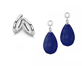 MY iMenso Zilveren Creoli Oorbellen + Blauwe Creoli Hangers